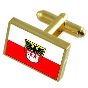 【送料無料】メンズアクセサリ― デュイスブルグドイツゴールドフラッグカフスボタンボックスduisburg city germany gold flag cufflinks engraved box