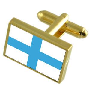 【送料無料】メンズアクセサリ― マルセイユフランスゴールドフラッグカフスボタンボックスmarseille city france gold flag cufflinks engraved box