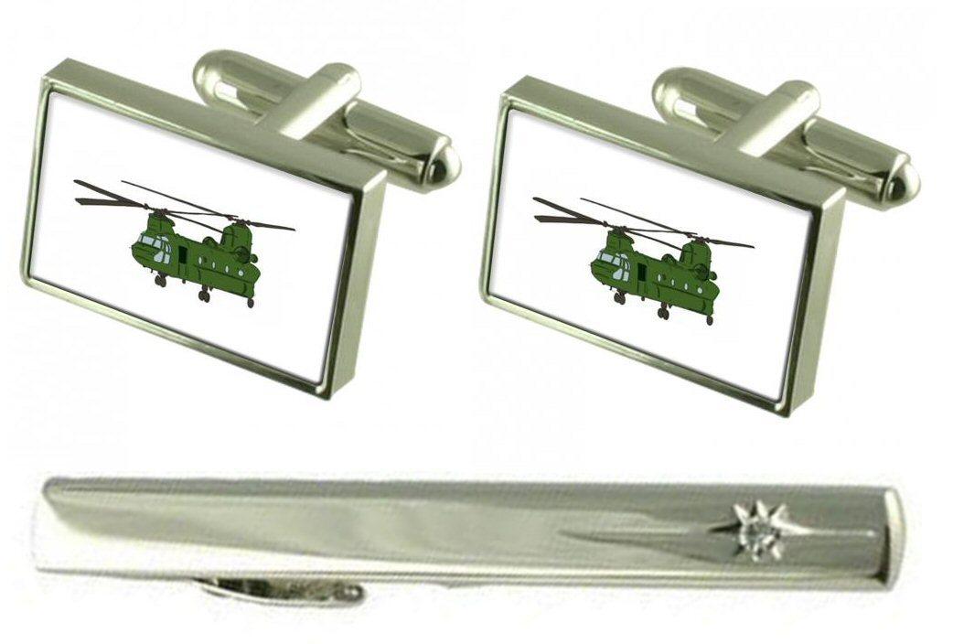 【送料無料】メンズアクセサリ― タイクリップヘリコプターカフスボタンセットgift set tie clip chinook helicopter cufflinks