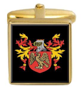 【送料無料】メンズアクセサリ― アイルランドカフスボタンボックスコートfunstan ireland family crest surname coat of arms gold cufflinks engraved box
