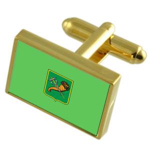 【送料無料】メンズアクセサリ― ウクライナゴールドフラッグカフスボタンボックスkharkiv city ukraine gold flag cufflinks engraved box