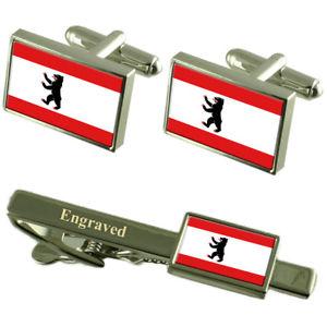 【送料無料】メンズアクセサリ― ベルリンカフスボタンタイクリップマッチングボックスberlin civil flag cufflinks engraved tie clip matching box set