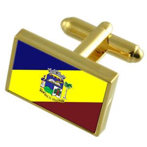 【送料無料】メンズアクセサリ― リオデジャネイロゴールドフラッグカフスボタンボックスオンpaty do alferes city rio de janeiro state gold flag cufflinks engraved box