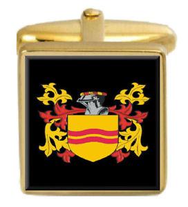 【送料無料】メンズアクセサリ― イギリスカフスボタンボックスコートyoungrave england family crest surname coat of arms gold cufflinks engraved box