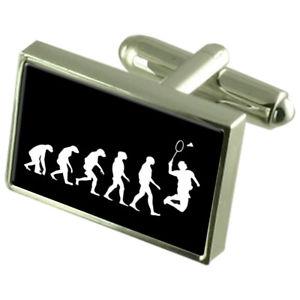 【送料無料】メンズアクセサリ― バドミントンスポーツカフスボタンクリスタルタイクリップバーevolution ape to man badminton sport cufflinks crystal tie clip bar engraved