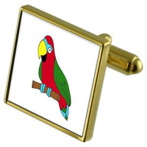 Puffin Bird Gold-tone Cufflinks Crystal Tie Clip Gift Set