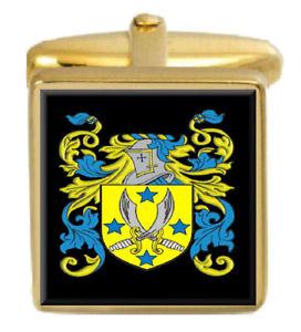【送料無料】メンズアクセサリ― イングランドカフスボタンボックスコートbutts england family crest surname coat of arms gold cufflinks engraved box