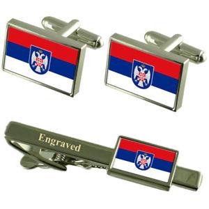 【送料無料】メンズアクセサリ― フラグカフスボタンタイクリップマッチングボックスrepublika srpska flag cufflinks engraved tie clip matching box set