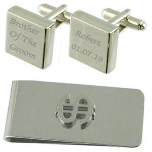 【送料無料】メンズアクセサリ― スクエアカフスボタンドルマネークリップセットbrother of groom engraved square cufflinks dollar money clip gift set