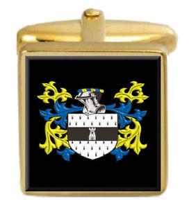 【送料無料】メンズアクセサリ― イングランドカフスボタンボックスコートhills england family crest surname coat of arms gold cufflinks engraved box