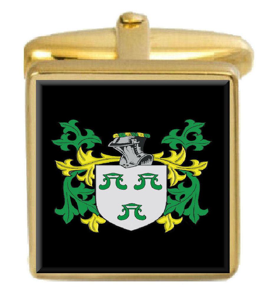【送料無料】メンズアクセサリ― イギリスカフスボタンボックスコートfenlon england family crest surname coat of arms gold cufflinks engraved box