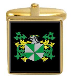 【送料無料】メンズアクセサリ― イギリスカフスボタンボックスコートteanby england family crest surname coat of arms gold cufflinks engraved box