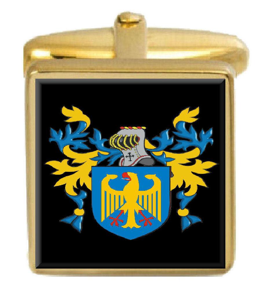 【送料無料】メンズアクセサリ― イギリスカフスボタンボックスコートbeechy england family crest surname coat of arms gold cufflinks engraved box
