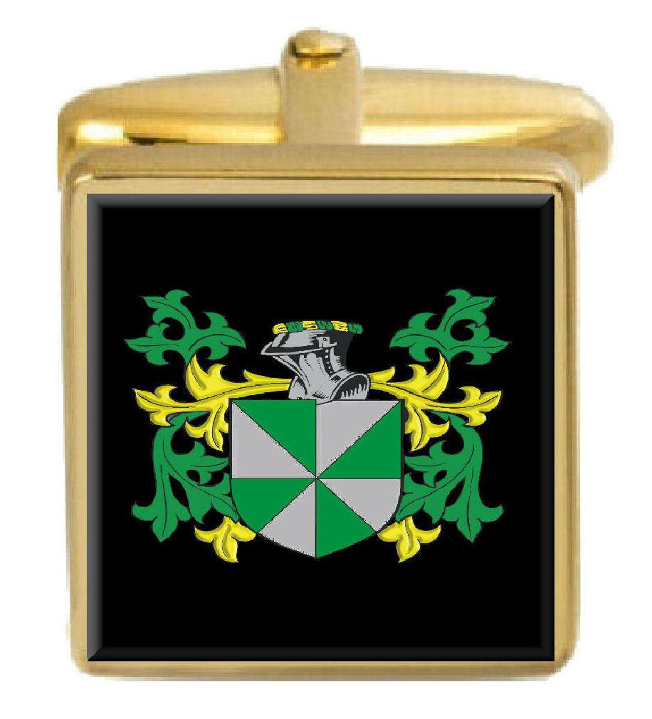 【送料無料】メンズアクセサリ― イギリスカフスボタンボックスコートosliff england family crest surname coat of arms gold cufflinks engraved box
