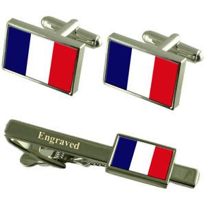 【送料無料】メンズアクセサリ― フランスカフスボタンタイクリップマッチングボックスfrance flag cufflinks engraved tie clip matching box set