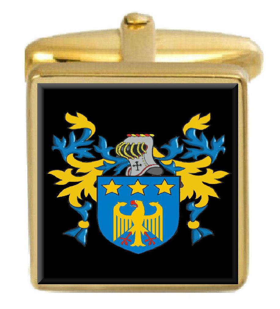 【送料無料】メンズアクセサリ― アイルランドカフスボタンボックスコートmacevoy ireland family crest surname coat of arms gold cufflinks engraved box