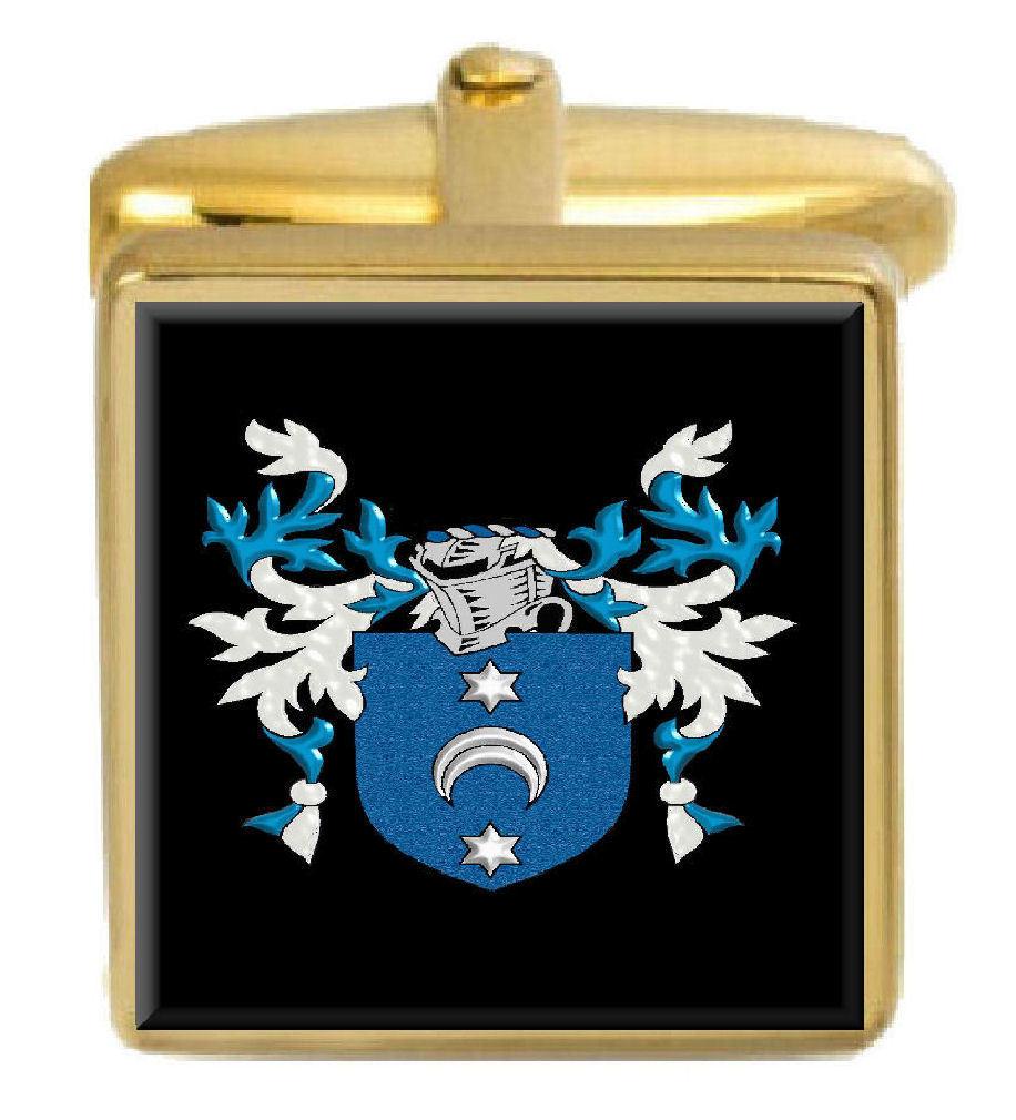 【送料無料】メンズアクセサリ― ジョンイングランドカフスボタンボックスコートjohn england family crest surname coat of arms gold cufflinks engraved box