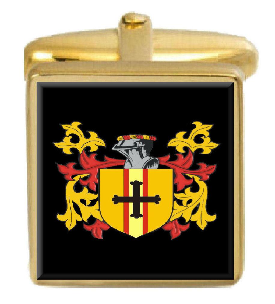 【送料無料】メンズアクセサリ― アイルランドカフスボタンボックスコートbranigan ireland family crest surname coat of arms gold cufflinks engraved box