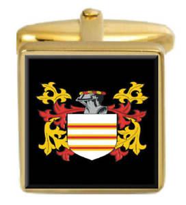 【送料無料】メンズアクセサリ― イギリスカフスボタンボックスコートfarvis england family crest surname coat of arms gold cufflinks engraved box