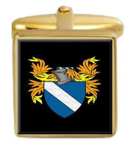 【送料無料】メンズアクセサリ― スコットランドカフスボタンボックスコートbisset scotland family crest surname coat of arms gold cufflinks engraved box