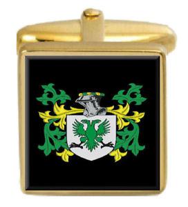 【送料無料】メンズアクセサリ― カフスボタンボックスコートllowarch wales family crest surname coat of arms gold cufflinks engraved box