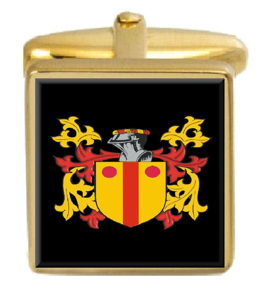 【送料無料】メンズアクセサリ― アイルランドカフスボタンボックスコートmacdonogh ireland family crest surname coat of arms gold cufflinks engraved box