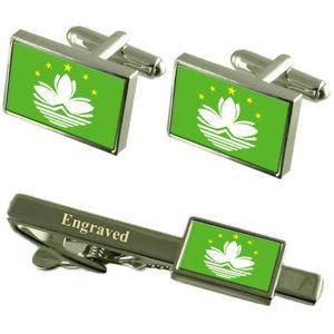 【送料無料】メンズアクセサリ― マカオカフスボタンタイクリップマッチングボックスmacao sar flag cufflinks engraved tie clip matching box set