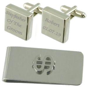 【送料無料】メンズアクセサリ― スクエアカフスボタンドルマネークリップセットstepfather of groom engraved square cufflinks dollar money clip gift set