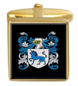【送料無料】メンズアクセサリ― イングランドカフスボタンボックスコートhande england family crest surname coat of arms gold cufflinks engraved box