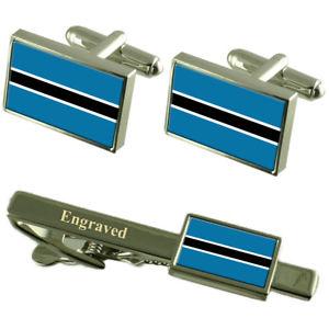 【送料無料】メンズアクセサリ― ボツワナカフスボタンタイクリップマッチングボックスbotswana flag cufflinks engraved tie clip matching box set
