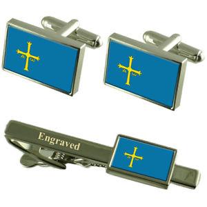 【送料無料】メンズアクセサリ― アストゥリアスカフスボタンタイクリップマッチングボックスasturias flag cufflinks engraved tie clip matching box set