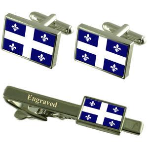 【送料無料】メンズアクセサリ― フラグカフスボタンタイクリップマッチングボックスqubec flag cufflinks engraved tie clip matching box set