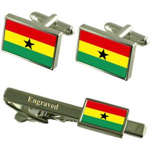 【送料無料】メンズアクセサリ― ガーナカフスボタンタイクリップマッチングボックスghana flag cufflinks engraved tie clip matching box set
