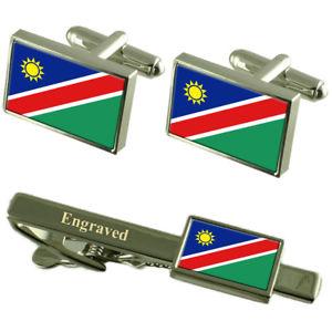 【送料無料】メンズアクセサリ― ナミビアカフスボタンタイクリップマッチングボックスnamibia flag cufflinks engraved tie clip matching box set