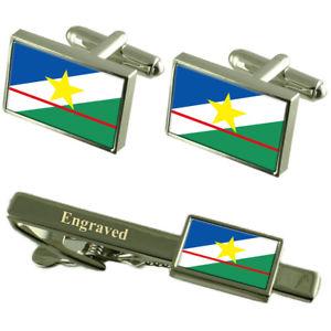 【送料無料】メンズアクセサリ― ロライマフラグカフスボタンタイクリップマッチングボックスroraima flag cufflinks engraved tie clip matching box set