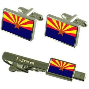 【送料無料】メンズアクセサリ― アリゾナフラグカフスボタンタイクリップマッチングボックスarizona flag cufflinks engraved tie clip matching box set