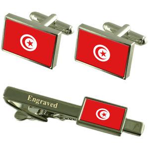 【送料無料】メンズアクセサリ― チュニジアカフスボタンタイクリップマッチングボックスtunisia flag cufflinks engraved tie clip matching box set