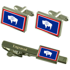 【送料無料】メンズアクセサリ― ワイオミングカフスボタンタイクリップマッチングボックスwyoming flag cufflinks engraved tie clip matching box set