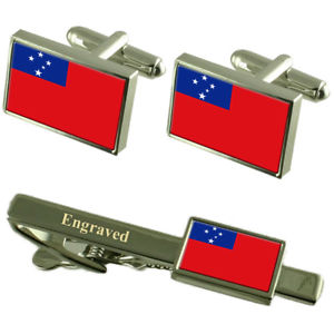 【送料無料】メンズアクセサリ― サモアカフスボタンタイクリップマッチングボックスsamoa flag cufflinks engraved tie clip matching box set