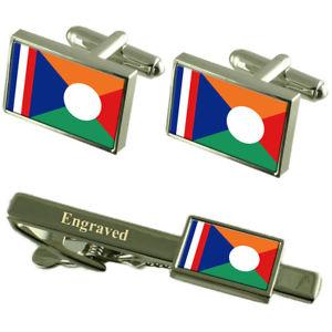 【送料無料】メンズアクセサリ― フラグカフスボタンタイクリップマッチングボックスrunion flag cufflinks engraved tie clip matching box set