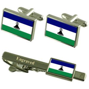 【送料無料】メンズアクセサリ― レソトカフスボタンタイクリップマッチングボックスlesotho flag cufflinks engraved tie clip matching box set