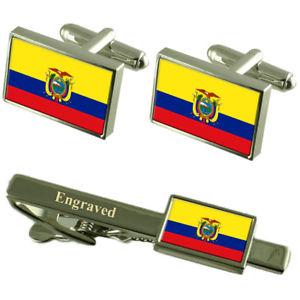 【送料無料】メンズアクセサリ― エクアドルカフスボタンタイクリップマッチングボックスecuador flag cufflinks engraved tie clip matching box set