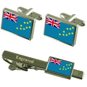 【送料無料】メンズアクセサリ― ツバルカフスボタンタイクリップマッチングボックスtuvalu flag cufflinks engraved tie clip matching box set