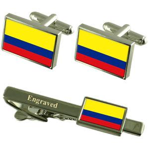 【送料無料】メンズアクセサリ― コロンビアカフスボタンタイクリップマッチングボックスcolombia flag cufflinks engraved tie clip matching box set