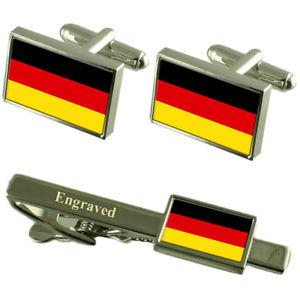 【送料無料】メンズアクセサリ― ドイツカフスボタンタイクリップマッチングボックスgermany flag cufflinks engraved tie clip matching box set