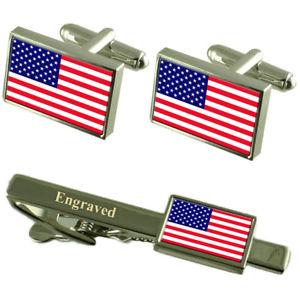 【送料無料】メンズアクセサリ― アメリカカフスボタンタイクリップマッチングボックスamerica flag cufflinks engraved tie clip matching box set