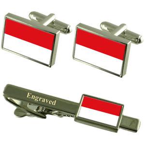 【送料無料】メンズアクセサリ― インドネシアカフスボタンタイクリップマッチングボックスindonesia flag cufflinks engraved tie clip matching box set