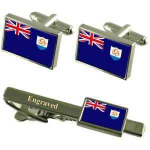 【送料無料】メンズアクセサリ― アンギラカフスボタンタイクリップマッチングボックスanguilla flag cufflinks engraved tie clip matching box set