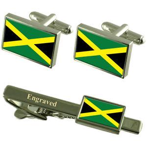【送料無料】メンズアクセサリ― ジャマイカカフスボタンタイクリップマッチングボックスjamaica flag cufflinks engraved tie clip matching box set