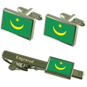 【送料無料】メンズアクセサリ― モーリタニアカフスボタンタイクリップマッチングボックスmauritania flag cufflinks engraved tie clip matching box set